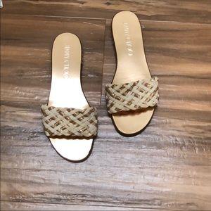 5d2fe337621b Jimmy Choo Shoes - Jimmy Choo Weave Studded Slide Sandal Size 7